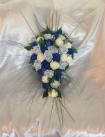 ARTIFICIAL FLOWERS BLUE/IVORY/ROYAL BLUE FOAM ROSE BRIDE WEDDING SHOWER BOUQUET